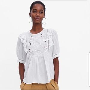 Zara Embroidered Eyelet White buff Sleeve Top